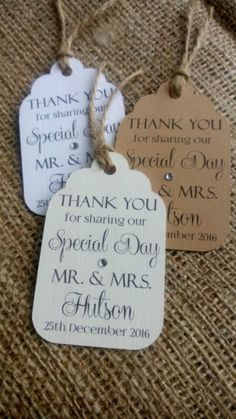 """10 Personalised Wedding Favour Gift Tags """"Thank you"""" Guest Label"""