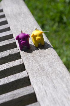 Pig Polymer Clay Earrings by AmigurumiByAli on Etsy, $12.00