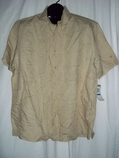 Havana Shirt Co S/S Beige with Tan Detailing Button Front Casual Shirt Size: XL  #Casual #ButtonFront