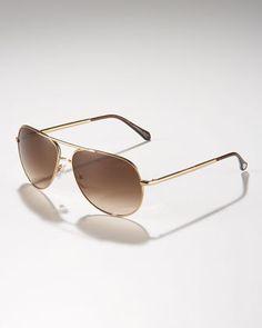 Metal Aviator Sunglasses, Golden by Ermenegildo Zegna