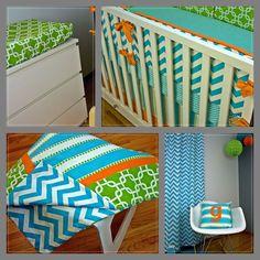 Oh the Places you will go.... Nursery, Orange Lime Aqua Crib Set | Modified Tot