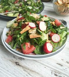 Fattoush: A healthy Middle Eastern Salad with a light, lemony vinaigrette dressing. This salad mixes crisp romaine, fresh vegetables, pita chips and a light lemony sumac dressing and is great with fresh farmers market vegetables.// A Cedar Spoon