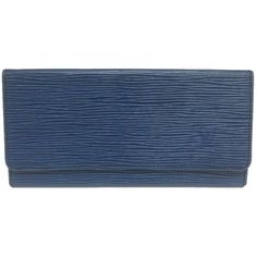 Pre-owned Louis Vuitton #4210 Blue Epi Leather Long Bifold Card Case... (£97) ❤ liked on Polyvore featuring bags, wallets, accessories, none, blue bag, card carrier wallet, blue wallet, long wallet and louis vuitton