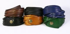 Genuine Leather Cuff Stacked Bracelet Bangles by TrueHeartStyle