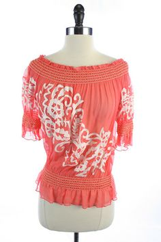 Recycle Your Fashions CACHE Pink 100% SILK Sheer FLORAL Embroidery BEADED Shirred TOP Shirt BLOUSE M
