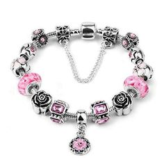 190cfc6bb Charm Beads for Bracelet Pink Crystal Beads Silver Plated Charm Pendant  Bracelet European Style Snake Chain Bracelet Gifts for Women from  Hughdeal4less