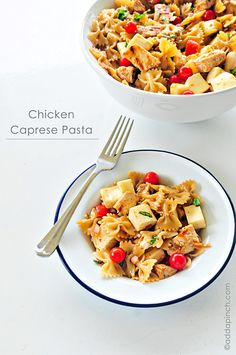 Chicken Caprese Pasta | I am so making this. I have basil and tomatoes in the garden. (not cherry  tomatoes but Juliet tomatoes which are about the size of golf balls, I'll quarter them)  and if I can find and afford will spring for fresh mozzarela. Yum, Yum!