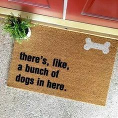 THE ORIGINAL bunch of dogs in here doormat by thecheekydoormat - dog lover - dog doormat - custom doormat - custom welcome mat - cute doormat - cute welcome mat - home decor - front porch - apartment decor - pets - dog mom - foster dogs - foster pets