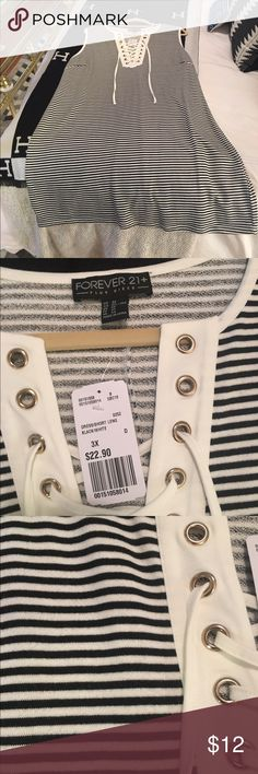 NWT Forever 21 plus size dress NWT black and white stripe dress! Had plans to wear this dress but I never reached for it. My loss is your gain. Super cute for the summer! Forever 21 Dresses Mini