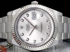 Rolex - Datejust II 116334 Cassa: acciaio - 41 mm Ghiera: oro bianco Vetro: zaffiro Quadrante: argento - con diamanti Bracciale: oyster Chiusura: oysterclasp con easylink Movimento: automatico Rolex Datejust Ii, Prezzo, Rolex Watches, Accessories, Watch