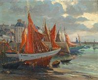 Bateaux de pêche au port de Douarnenez par Gaston Pottier