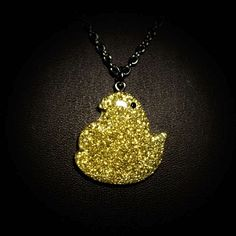 PEEPS GLITTER CHICK SHAPED CHARM NECKLACE  #YCEasterBasket