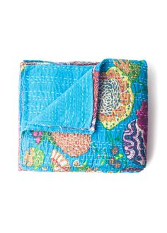 Twin and Queen size blue kantha quilts by SoulMakes