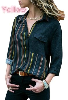 Cheap Yellow Accent Colorblock Long Sleeve One Pocket Shirt online! Keep you comfortable all day long with our shirts & dropship clothing. Stylish Shirts, Casual Shirts, Long Sleeve Tops, Long Sleeve Shirts, Shirt Bluse, Blouses For Women, Women's Blouses, Georgia, Ideias Fashion
