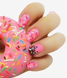 Nails: pink donut with sprinkles!