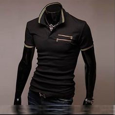 NEW Designed Mens T Shirt TOP TEE Polo Slim Fitted Dress Casual ZIP Black Size M | eBay