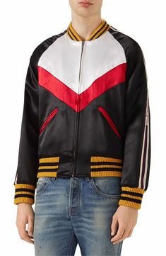 Discover recipes, home ideas, style inspiration and other ideas to try. Burberry Men, Gucci Men, Gucci Gucci, Satin Bomber Jacket, Retro Men, Jackets Online, Sports Shirts, Jacket Style, Mens Suits