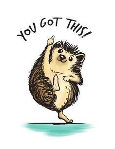Motivational Hedgehog Art Print-- like Taylor Dean's hedgehog nala Happy Hedgehog, Hedgehog Pet, Cute Hedgehog, Hedgehog Illustration, Hedgehog Drawing, Baby Animals, Cute Animals, Painted Rocks, Cute Pictures