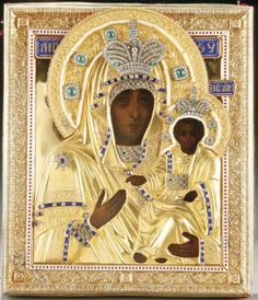 A VERY FINE RUSSIAN PRESENTATION ICON, The Vlakhernskaya Mother of God, Moscow 1899. Sold for $30,000
