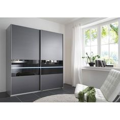 Shine Sliding Wardrobe In Anthracite With 2 Door And Light Finish: Anthracite Fronts with Carcase Aluminium Effect Features: Wardrobe Design Bedroom, Bedroom Wardrobe, Master Bedroom Design, Mirrored Wardrobe, Modern Master Bedroom, Stylish Bedroom, Wardrobe Laminate Design, Sliding Door Wardrobe Designs, Almirah Designs