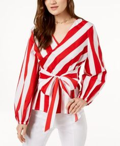 I.N.C. Striped Wrap Blouse, Created for Macy's