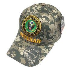ff39233720b U.S. Military United States ARMY VETERAN Digital Camo Hat Men s Baseball Cap