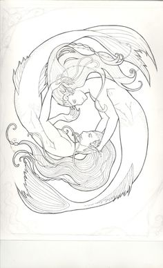 Mermen by TinyCrow on DeviantArt Pisces Tattoo Designs, Pisces Tattoos, Mermaid Tattoos, Printable Flower Coloring Pages, Mermaid Coloring Pages, Mermaid Song, Mermaid Art, Mermaid Drawings, Art Drawings