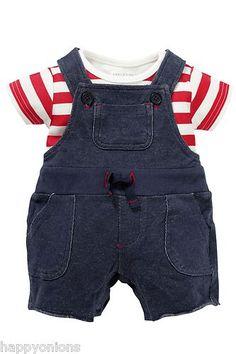 NEXT BOYS BLUE JERSEY SHORT DUNGAREES & RED STRIPE BODYSUIT OUTFIT/SET | eBay
