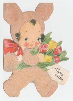 Vintage Greeting Card Easter Dressed as Bunny Flocked Rabbit Suit Gibson Die Cut | eBay
