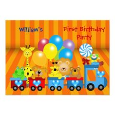 120 best zoo birthday party invitations images on pinterest boy first birthday 1st train zoo animals party invitation stopboris Image collections