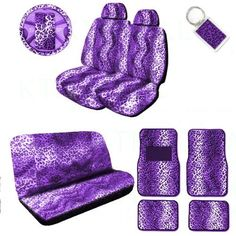 A Set of 2 Universal Fit Animal Print Low Back Front with Universal Bench Seat Covers, Wheel Cover, 2 Shoulder Pads 4 Floor Mats, and 1 Key Fob - Leopard Purple Bench Seat Covers, Car Seat Cover Sets, Purple Seat Covers, Headlight Restoration Diy, Glitter Car, Purple Home, Deep Purple, Cute Car Accessories, All Things Purple