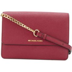 Michael Michael Kors Daniela large crossbody bag (985 AED) ❤ liked on Polyvore featuring bags, handbags, shoulder bags, red, chain shoulder bag, red purse, crossbody shoulder bag, crossbody handbag and red leather purse
