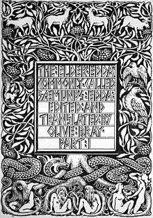 Front page of Elder Edda translation by Olive Bray, showing Yggdrasil. Love the artwork!