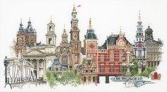 """Набор для вышивания """"Амстердам"""" (Thea Gouverneur 450). Можно купить в нашем магазине!  вышивка / рукоделие / наборы для вышивания / город / амстердам / картина / cross stitch / amsterdam / embrodery"""