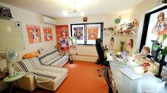 White and Orange Manga Office Workspace with Comic Figurines and Posters for Girls