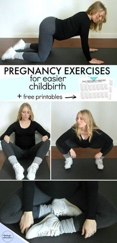 6 pregnancy exercises to make childbirth easier + FREE printable checklist! Squatting, pelvic rocking, tailor sitting, Kegels & more associated with natural labor & Bradley Method birthing. #PregnancyTips #pregnancyadvice #pregnancyexercise
