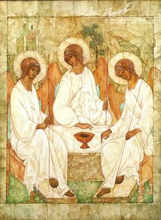 3 hombres de pie estaban delante Archangels, Byzantine Art, Oriental Art, Painting, Trinity, Orthodox Christian Icons, Art, Christian Paintings, Sacred Art