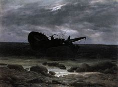 Caspar David Friedrich (1774 – 1840), c1835, Wreck in the Moonlight, oil on canvas, 31.3 x 42.5 cm.