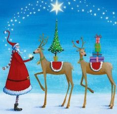 *Santa and raindeer holiday artist Illustration by Mila Marquis* Christmas Scenes, Noel Christmas, Merry Christmas And Happy New Year, Christmas Pictures, Winter Christmas, Christmas Crafts, Christmas Decorations, Christmas Ornaments, Whimsical Christmas