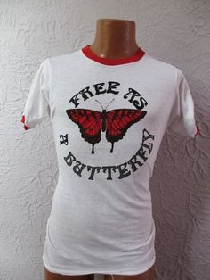 70's Vintage Hippie Ringer T Shirt slim medium by PaisleyBabylon