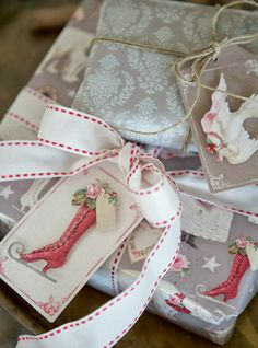 beautiful wrapping and packing | ... makes me giddy! I love the gift wrap and 3d effect of those gift tags
