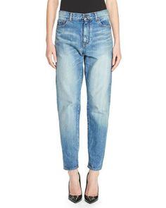 SAINT LAURENT Denim Boyfriend Jeans, Blue. #saintlaurent #cloth #
