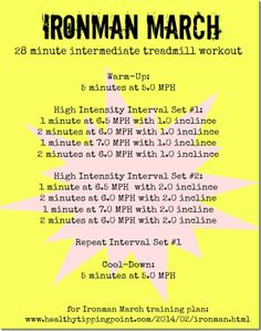 Ironman March Run and Swim Workouts