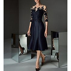 A-Line Bateau Neck Knee Length Lace / Satin Mother of the Bride Dress with Appliques / Buttons by LAN TING Express / See Through Mob Dresses, Lace Dresses, Elegant Dresses, Formal Dresses, Bridesmaid Dresses, Mother Of Bride Outfits, Mother Of Groom Dresses, Mother Of The Bride Clothes, Mother Of The Bride Dresses Knee Length