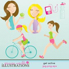 bb5ec53673b1 Character Illustration Set comes with FOUR Active women illustrations  including  a woman