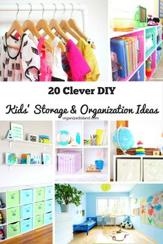 A list of twenty kids storage and organization ideas for kids. Many of the suggestions are DIY storage ideas and are useful for other home areas.