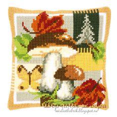 """Mushrooms"" counted cross-stitch cushion kit by Vervaco ( Counted Cross Stitch Kits, Cross Stitch Embroidery, Cross Stitch Patterns, Cross Stitch Cushion, Thick Yarn, Cross Stitch Animals, Needlepoint Kits, Beading Patterns, Cushions"