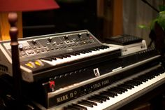 Moog Little Phatty sat on top of a Fender Rhodes 88 Stage MKII Electric Piano, Recording Studio Design, Home Studio Music, Music People, Rhodes, Nice Things, Musical Instruments, Keyboard, Lust