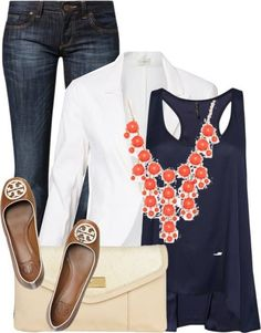 Love the navy with the white blazer. Already have a white blazer, but I like this look. Mode Outfits, Casual Outfits, Summer Outfits, Fashion Outfits, Womens Fashion, Fashion Ideas, Fashion Clothes, Fashion Trends, Fashion 2014