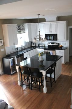 Browse photos of Small kitchen designs. Discover inspiration for your Small kitc. Browse photos of Small kitchen designs. Discover inspiration for your Small kitchen remodel or upgr Updated Kitchen, New Kitchen, Kitchen Dining, Kitchen Ideas, Kitchen Cabinets, White Cabinets, Kitchen Small, Small Kitchens, Soapstone Kitchen